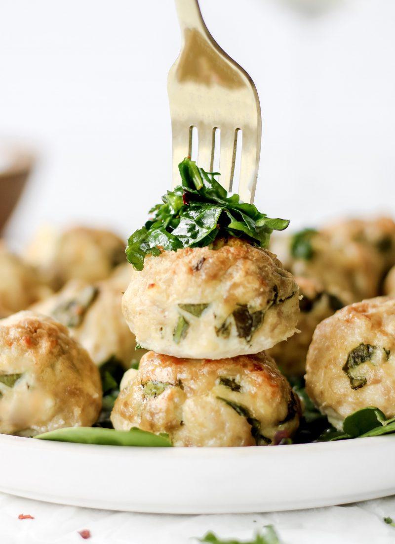 healthy chicken meatballs with feta & herbs