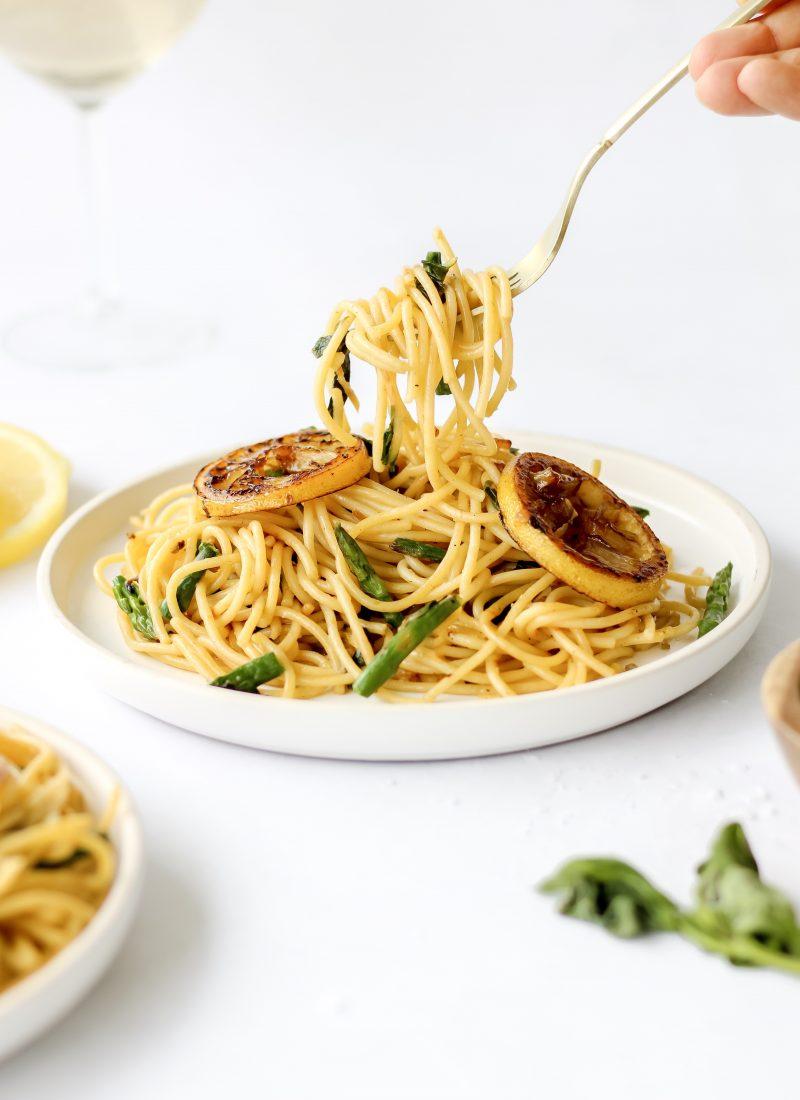 lemon garlic pasta with asparagus