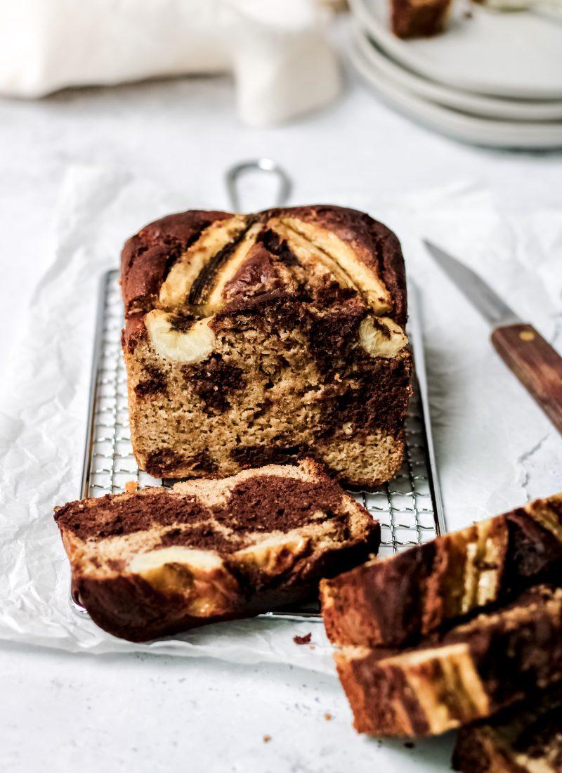 healthy chocolate marbled banana bread