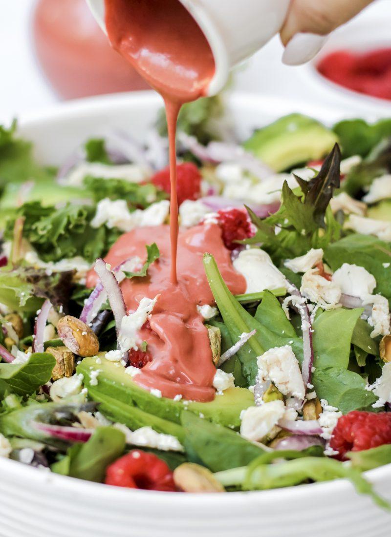 Raspberry Pistachio Salad with Raspberry Vinaigrette